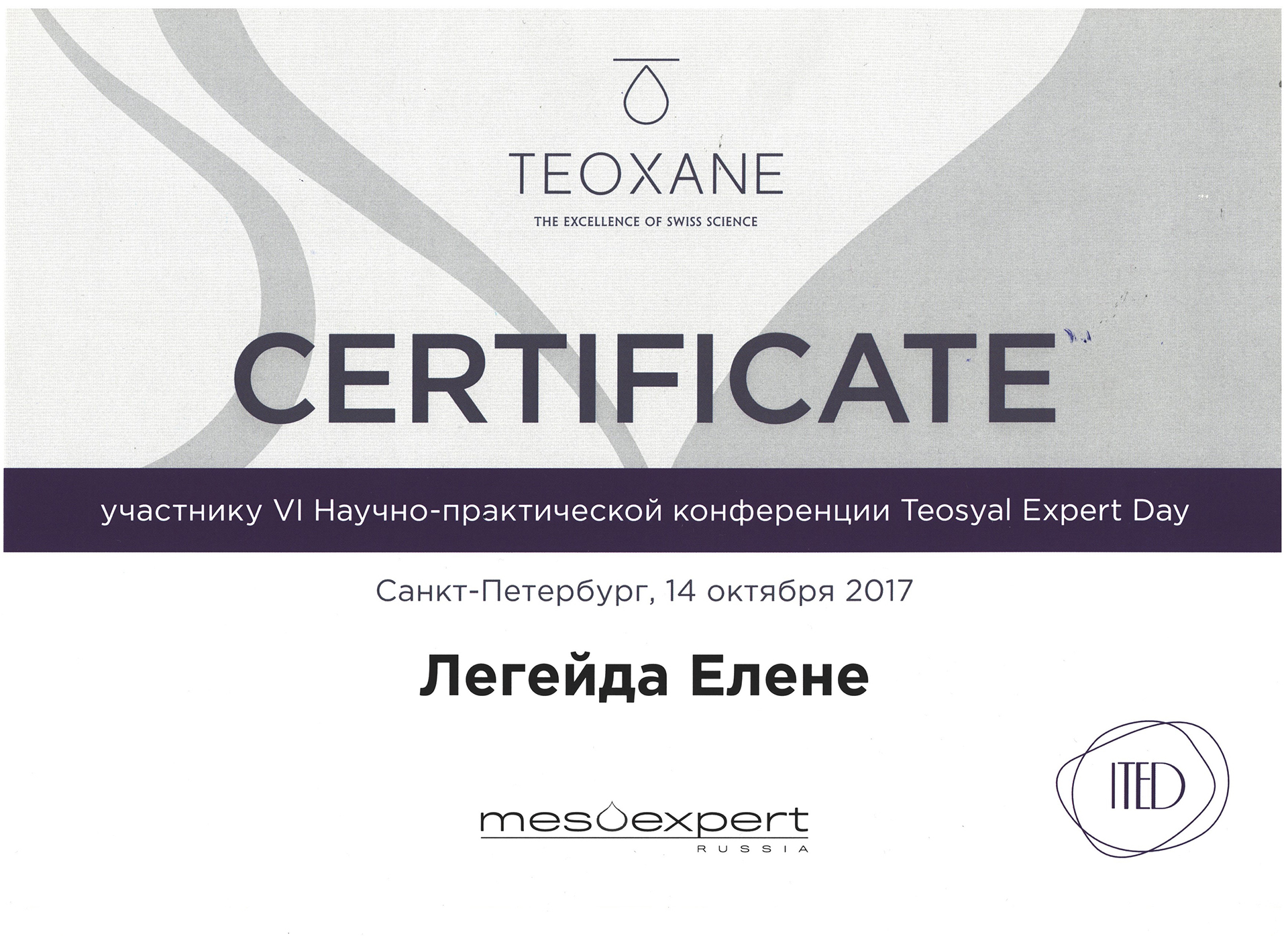 Сертификат — Конференция Teosyal Expert Day. Легейда Елена Валерьевна
