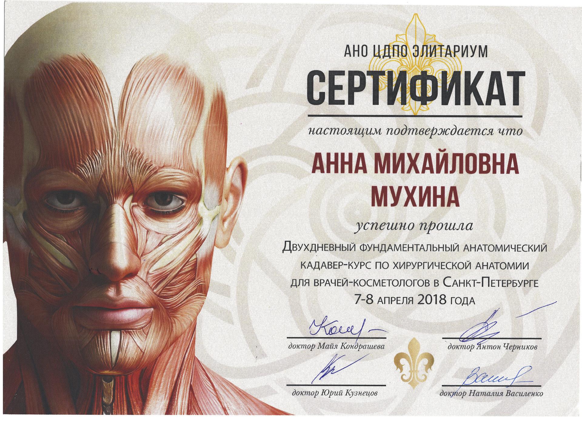 Сертификат — Кадавер-курс по хирургической анатомии. Мухина Анна Михайловна